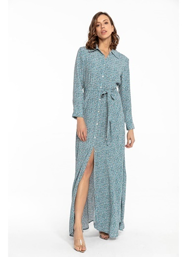 Tiffany&Tomato Kuşaklı Uzun Gömlek Elbise-Tarçın Mavi